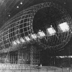 1930 USS Akron (ZRS-4) under construction in the Goodyear-Zeppelin Corporation hangar at Akron, Ohio.