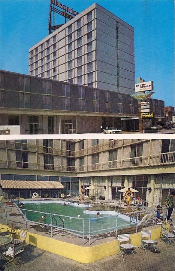 akron tower motor inn akron postcards