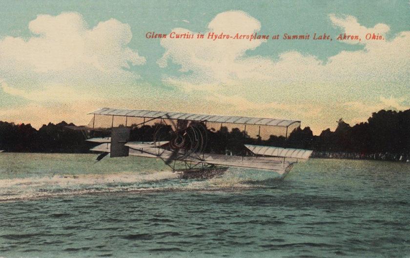 Glenn Curtiss in Hydro-Aeroplane at Summit Lake, Akron, Ohio