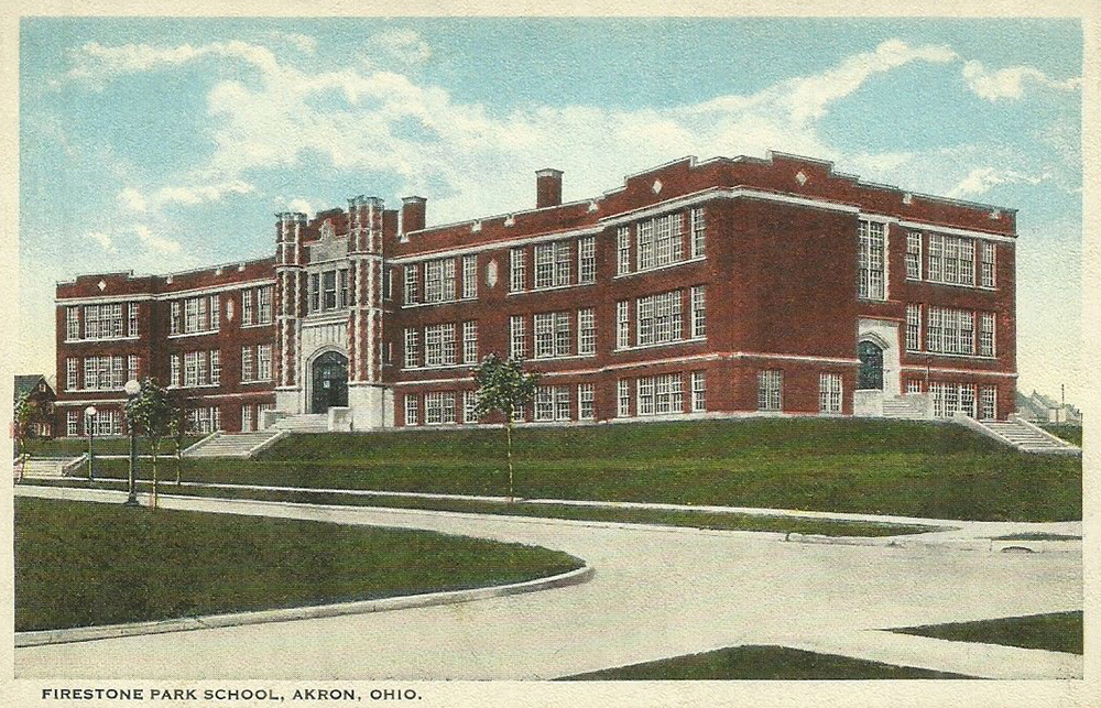 Postcard view, Firestone Park School, Akron, Ohio