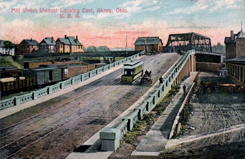 Streetcar at the Mill Street Viaduct looking East. Akron, Ohio
