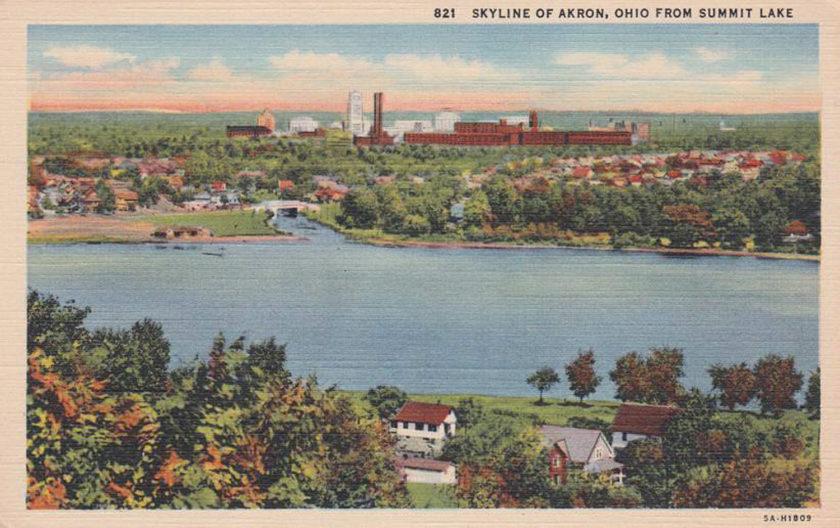 Skyline of Akron Ohio from Summit Lake