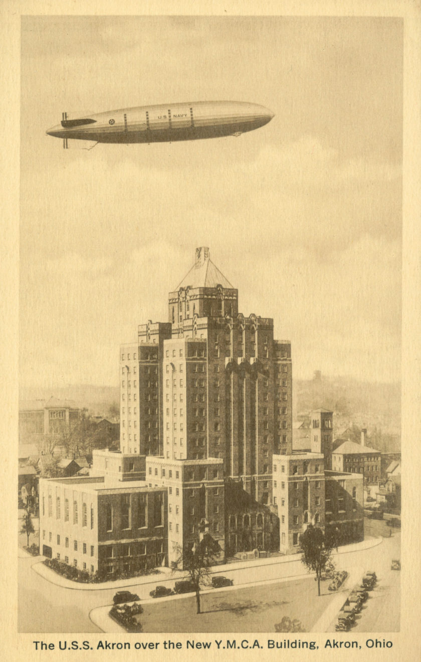 The USS Akron over the New Y.M.C.A. Building, Akron, Ohio