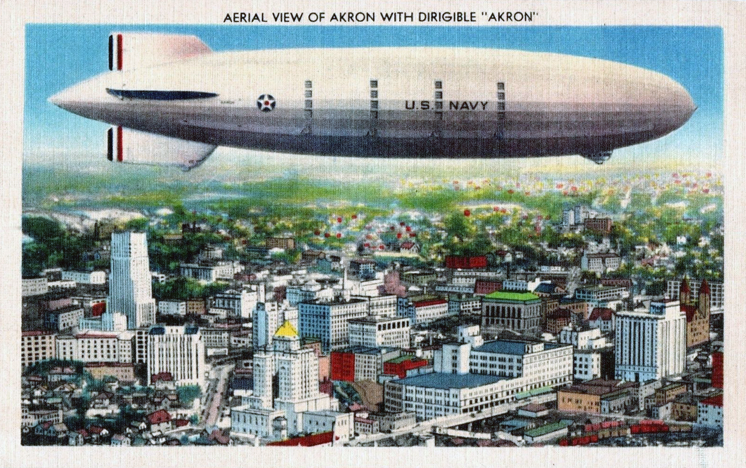 Airship Aerial View With Dirigible Akron Postcards