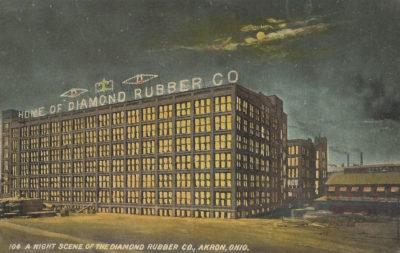 A night scene of the Diamond Rubber Company, Akron, Ohio