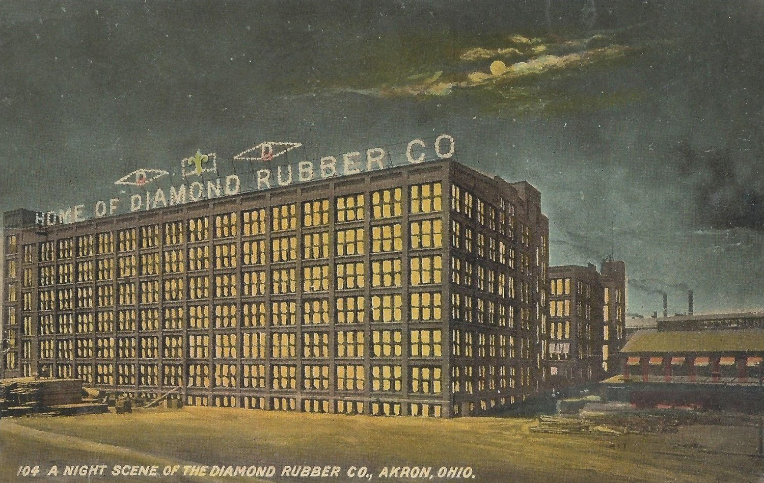 A night scene of the Diamond Rubber Company, Akron, Ohio