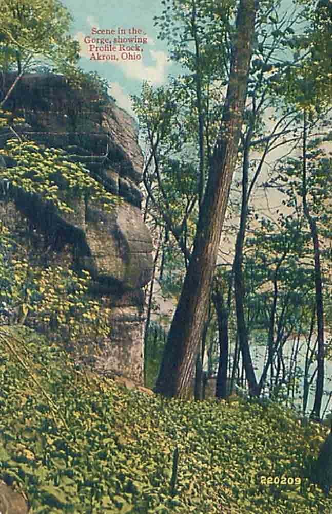 Scene in the Gorge showing profile rock, Akron/Cuyahoga Falls, Ohio