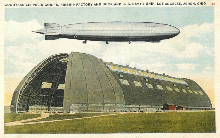airship los angeles over Akron air dock