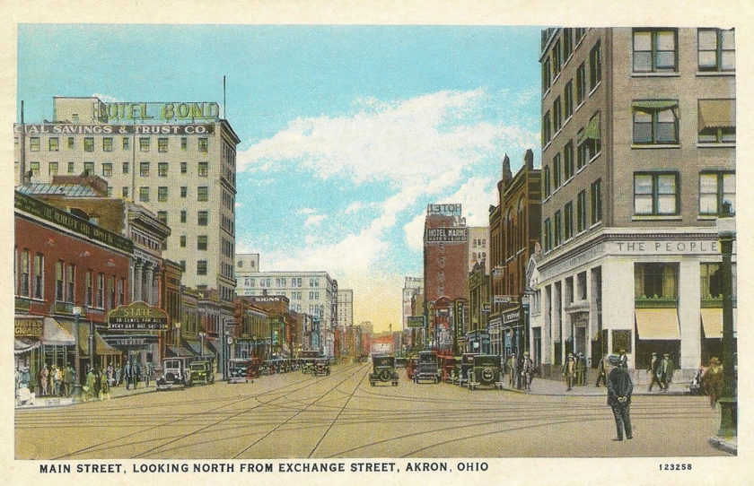 Main Street, looking North from Exchange Street, Akron, Ohio