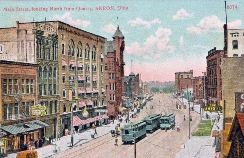 Main Street, looking North from Quarry, Akron, Ohio