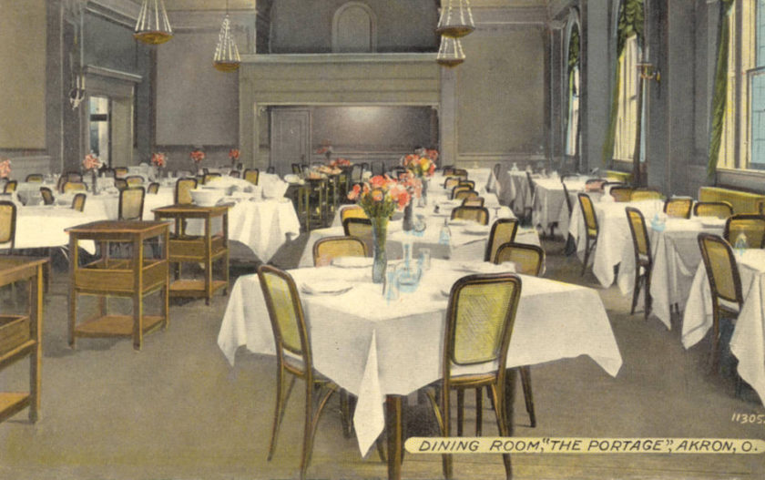 Dining room at the Portage Hotel, Akron, Ohio
