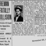 Eddie Wolfe Fireman Hurt Fatally in Collision 1930, akron, Ohio