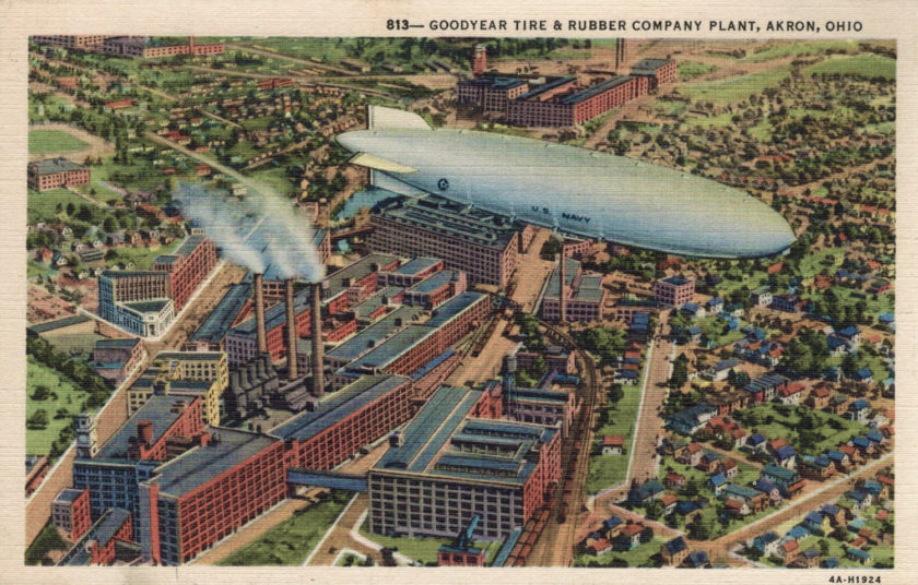 USS Akron over Goodyear Tire & Rubber Co. Plant, Akron, Ohio