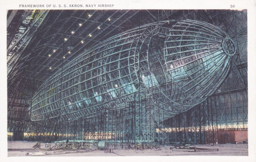 Framework for the U.S.S. Akron, inside the Goodyear-Zeppelin Air Dock, Akron Ohio