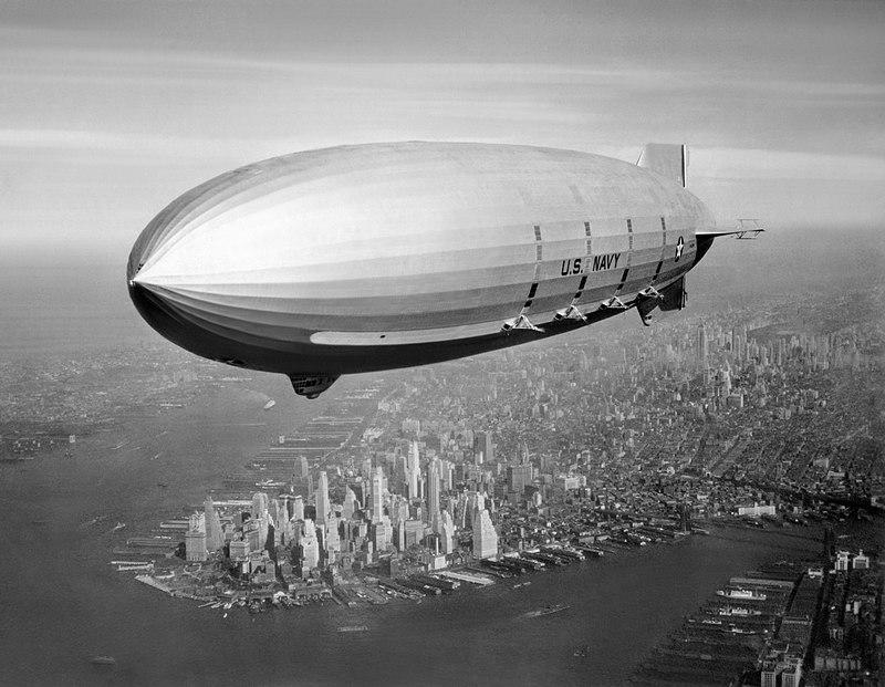 1933 USS Macon (ZRS-5) Flying over New York Harbor