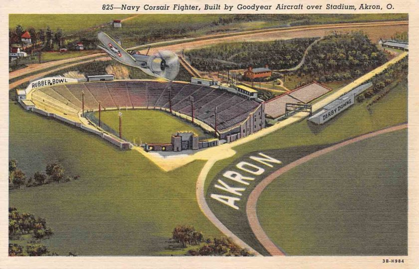 Navy Corsair Fighter, Built by Goodyear Aircraft over Stadium, Akron, Ohio