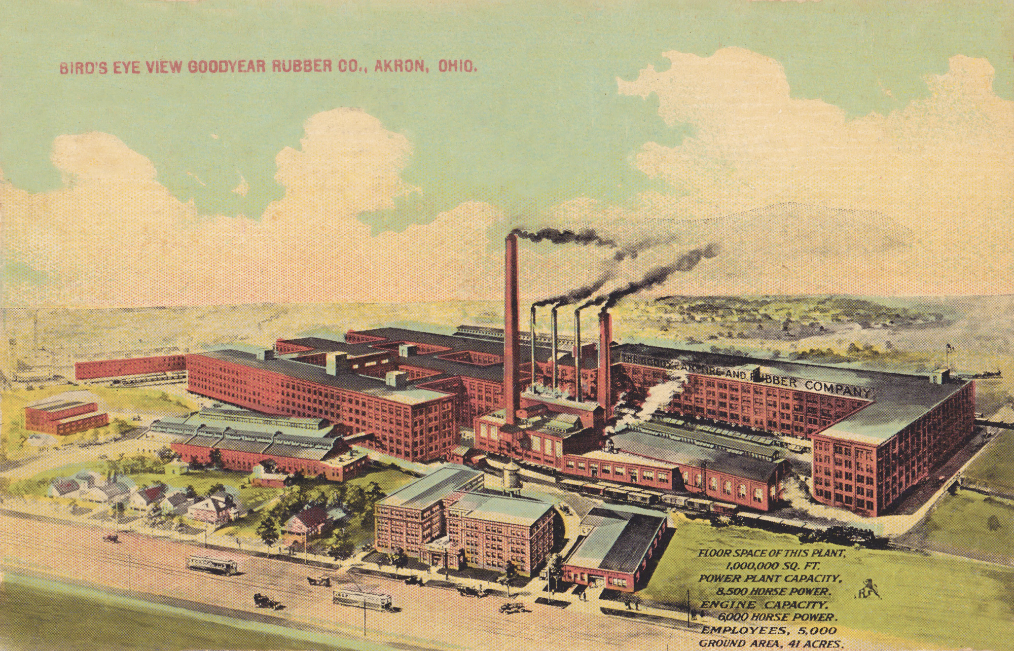 Goodyear Rubber Co Birds Eye View Akron Postcards