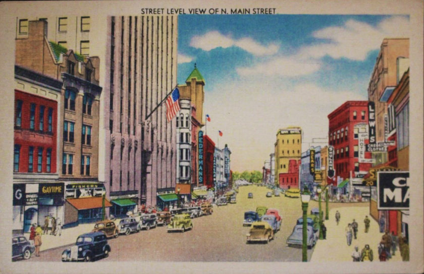 Postcard - Street Level View of N. Main Street Akron, Ohio